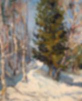 15 Ель в феврале, 2010, картон масло, 40