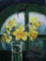 Нарциссы и круглое окно, 2017, холст мас