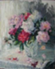 7 Пионы в стеклянной вазе, 2014, холст м