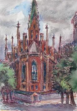 1 Церковь (Рига), 1977, бумага пастель,