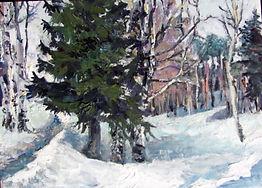 7 Серебряный лес, 2014, картон масло, 13
