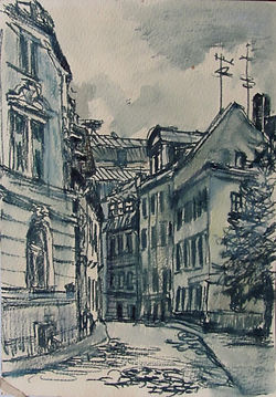 2 Тихая Рига, 1977, бумага фломастер,  1