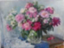 23 Пионы на синей скатерти, 2013, холст