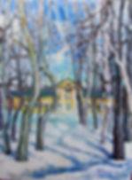 22 Тени на снегу (Фряново), 2014, холст