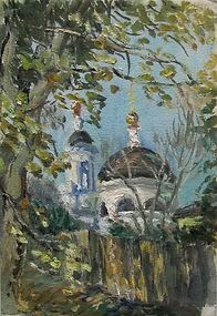 13 Храм во Фряново, 2010, картон масло,