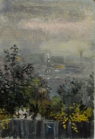 27 Изгородь (Курск), 1998, картон масло,