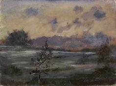 38 Туман (Поплевино) 1980, картон масло,