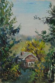45 Дом под горой, 2011, картон масло, 18