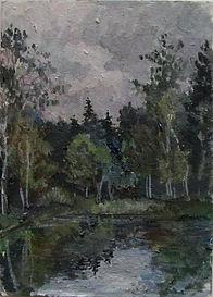 46 Хмурый пруд, 2011, картон масло, 18х1
