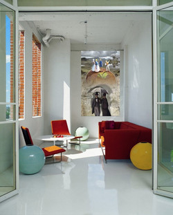 Collectors-Loft-by-Poteet-Architects-Family-Room-with-a-red-sofa-Interior-Design