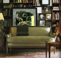 green-velvet-sofa-loveseat-library-biblioteque-books-decorating-eclectic-home-de
