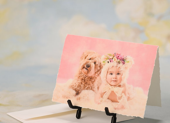 Baby Girl and Labradoodle in Pink