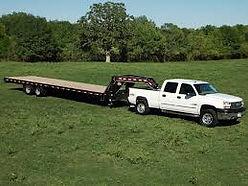 LTL Truck and lowboy Gooseneck flatbed hauling trailer