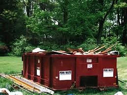 Full Red 10 Yard Rolloff Dumpster