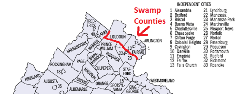 Northern Virginia Swam Counties Fairfax County, Loudoun County, Arlington County,Alexandria City, Fairfax City, Falls Church City. Northern Virginia Swamp Counties. NOVA DC Swamp