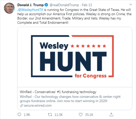 MAGA Candidate Wesley Hunt is the choice for Texas CD-07 in November 2020 against DemonRAT Lizzie Fletcher! #MAGA #KAG #VOTETRUMP #WESLEYHUNT #TRUMP2020