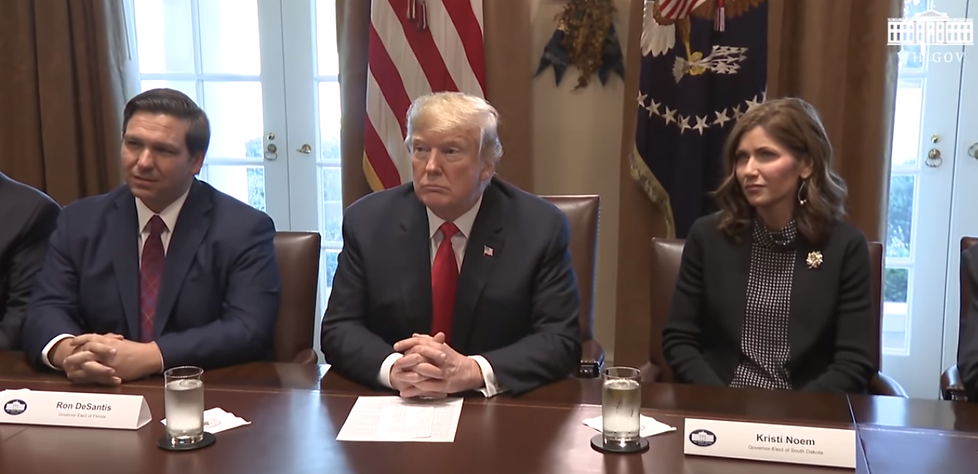 US President Donald J Trump with the two leading MAGA Governors Ron DeSantis of Florida and Kristi Noem of South Dakota both leading candidates for President in 2024!! #MAGA #KAG