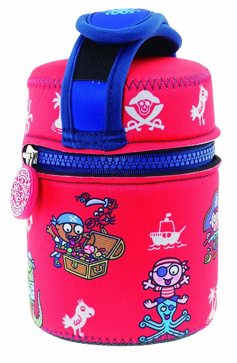 S/S THERMO FOOD CONTAINER 0.5L + NEOPRENE COVER KATUKI PIRATIKIS RED