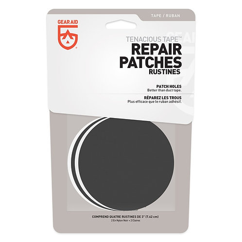 TENACIOUS TAPE REPAIR PATCHES BLACK CLEAR 3""
