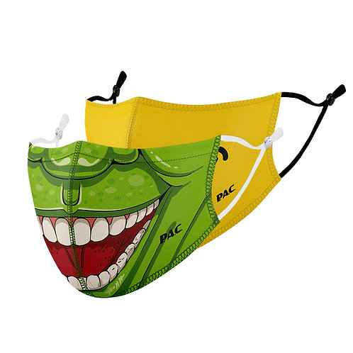 PAC KIDS COMMUNITY MASK FUNCTION 1 LAYER X2 PIECE/PACK GREEN MONSTER + BIG SMILE