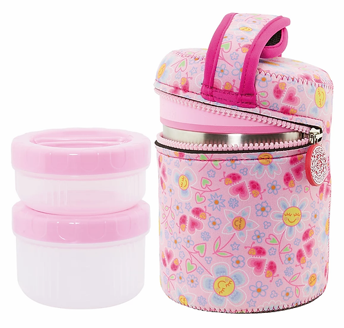 S/S THERMO FOOD CONTAINER 1.0L + NEOPRENE COVER KATUKI BUGS PINK