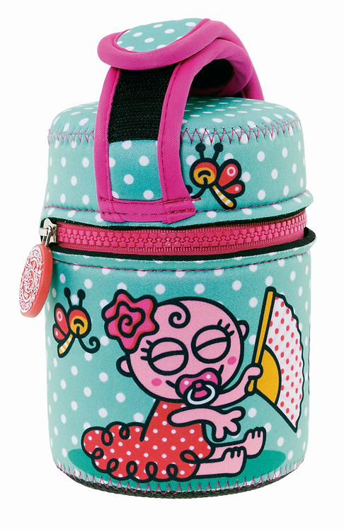 S/S THERMO FOOD CONTAINER 0.5L + NEOPRENE COVER KATUKI BABY FLAMENCA