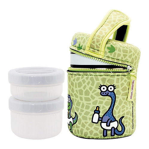 S/S THERMO FOOD CONTAINER 1.0L + NEOPRENE COVER KATUKI DINOS