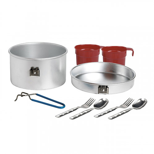 ALUMINIUM COOKING SET 2P 1.6L WITH 2 SETS OF CUTLERIES AND CUPS