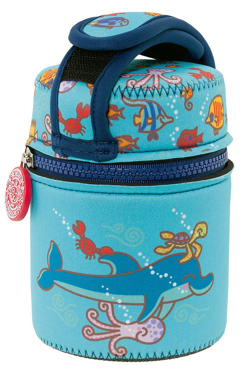 ST. STEEL THERMO FOOD CONTAINER 0.5L + NEOPRENE COVER KATUKI DOLPHIN BLUE