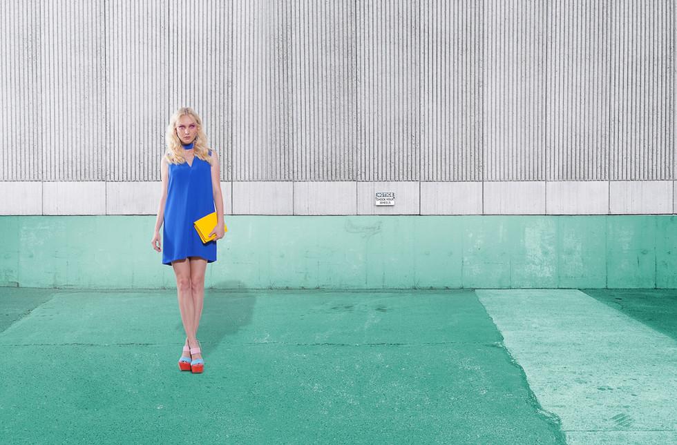 Fashion Model on Turquoise:Grey