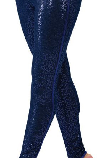 Sequin stretch denim leggings with foil lycra trim