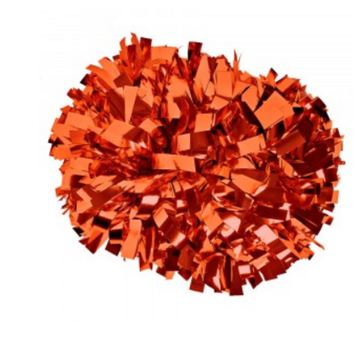 Orange metallic baton handle pom