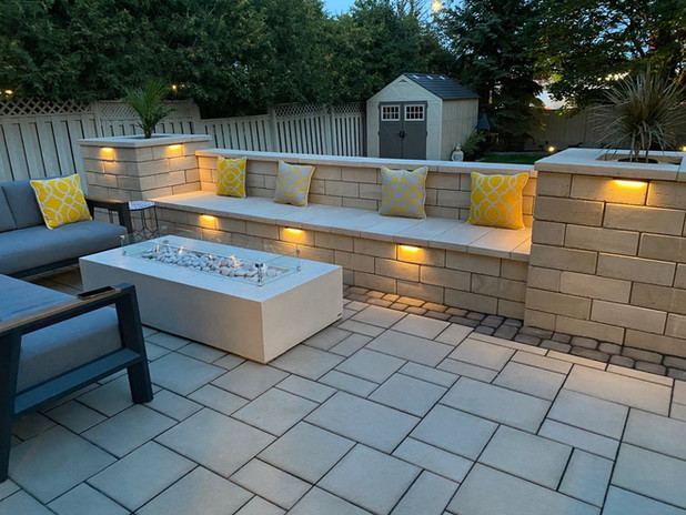 Techo Bloc Bench with Dekko Concrete Firepit