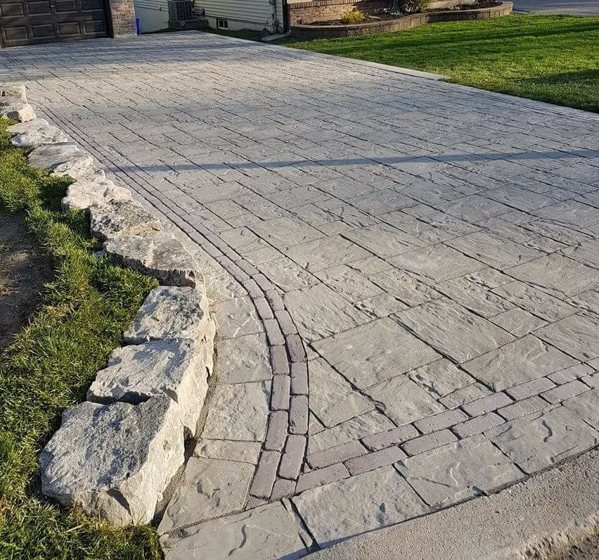 interlock driveway with armour stone