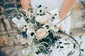 classic white, light pink roses with blue accent bridal bouquet | Pearl Orchid Photography