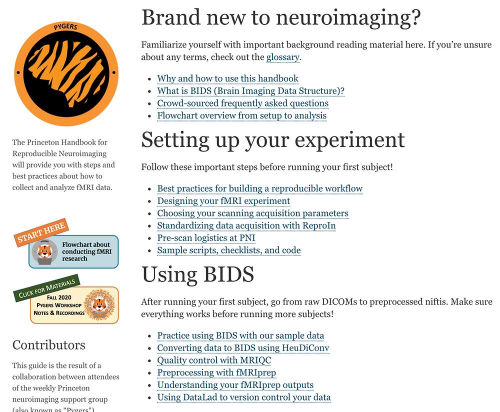 Screenshot of the virtual handbook for reproducible neuroimaging
