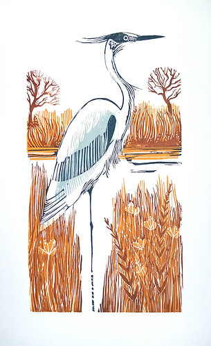 Nadia Lucchesi - Heron, Linocut