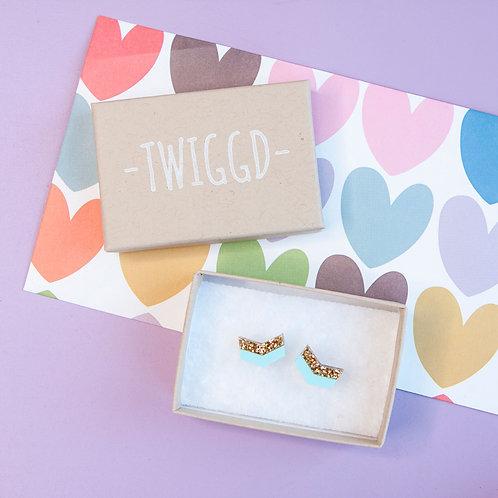 Twiggd - Arrow  Studs - Turquoise