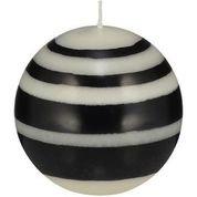 Jet Black, Pearl White & Dove Grey Small Striped Ball Candle