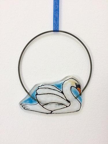 Fused Glass Swan Circle Hanging