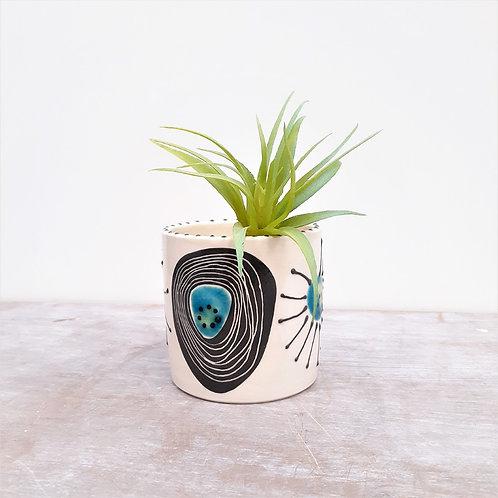 Ceri White Ceramics - Turquoise Cells Planter