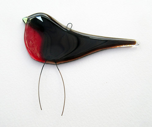 Hanging Fused Glass Robin