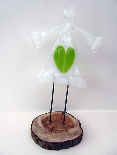 Fused Glass Standing Green Heart Angel