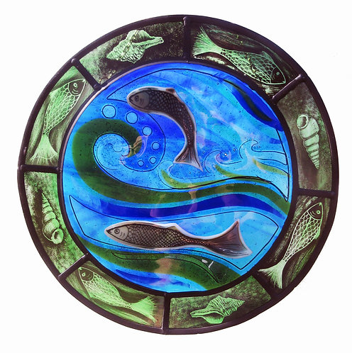 Sealife Stained Glass Panel