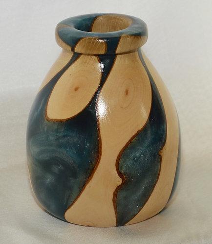 MoorholmWoodcraft wood and blue resin Vase
