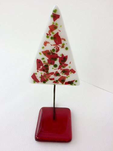 White Xmas Tree with Frit & Red Base