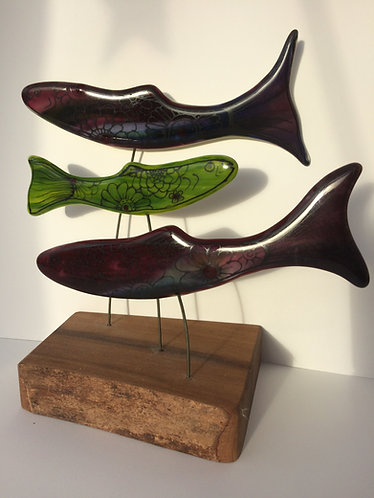 3 Painted & Fused Fish