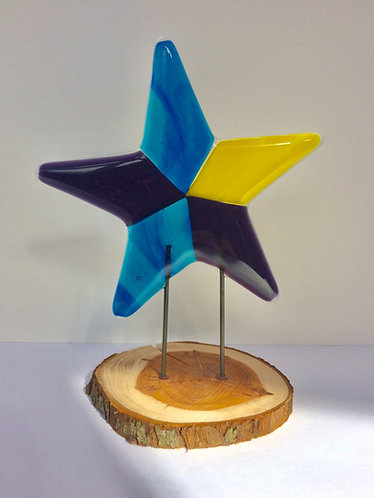 Blue/Purple/Yellow Fused Standing Star
