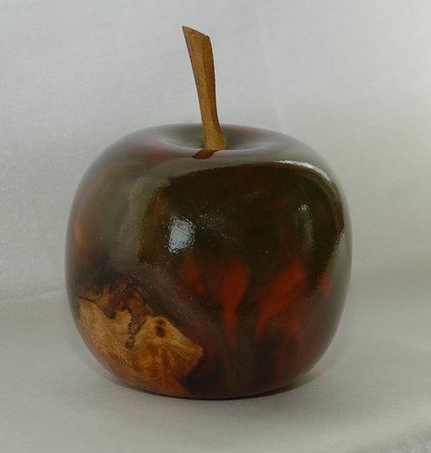 Moorholm Woodcraft Burr Elm and Red/Green Resin Apple