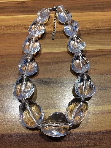 Cut Clear Chunky Beaded Necklace